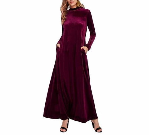 On Second Thought: Velvet Floor Length Kaftan Dress in Burgundy