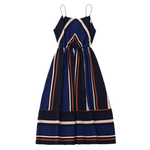 On Second Thought: Spaghetti Strap Midi Colorblock Striped Dress