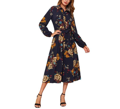 On Second Thought: Mid Calf Floral Long Belted Dress