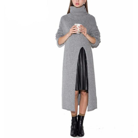 On Second Thoght: Gray Turtleneck Sweater Dress with Front Slit