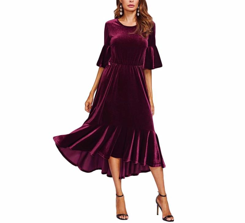 High Low Burgundy Velvet Dress