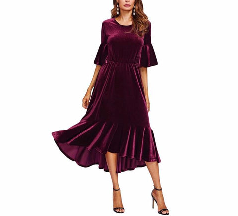 On Second Thought: High Low Dress in Burgundy Velvet with Trumpet Sleeves and Hem