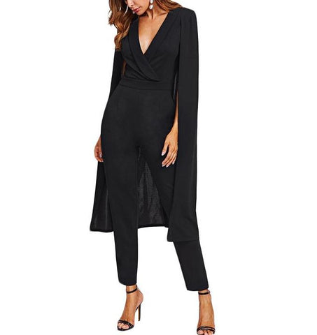 On Second Thought: Tailored Black V-Neck Jumpsuit With Split Sleeve Cape