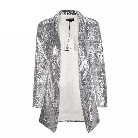 On Second Thought: Sequin Silver Long Sleeve Blazer
