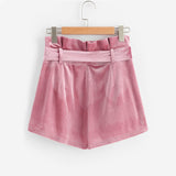 Mini Velvet Shorts in Pink