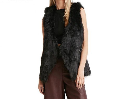 On Second Thought: Sleeveless Faux Fur Vest with Button Belt Closure