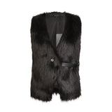 Faux Fur Vest in Black with Belt Closure