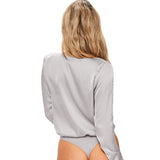 Deep V-Neck Bodysuit in Gray