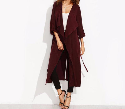 On Second Thought: Burgundy Cascade Front Trench with Tie Belt