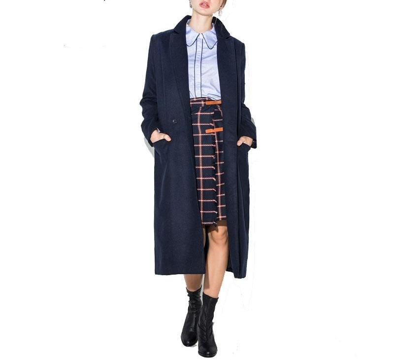 Three Quarter Navy Wool Blend Coat