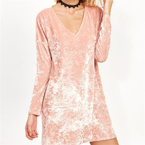 On Second Thought: Velvet Pink Long Sleeve V Neck Tunic Top