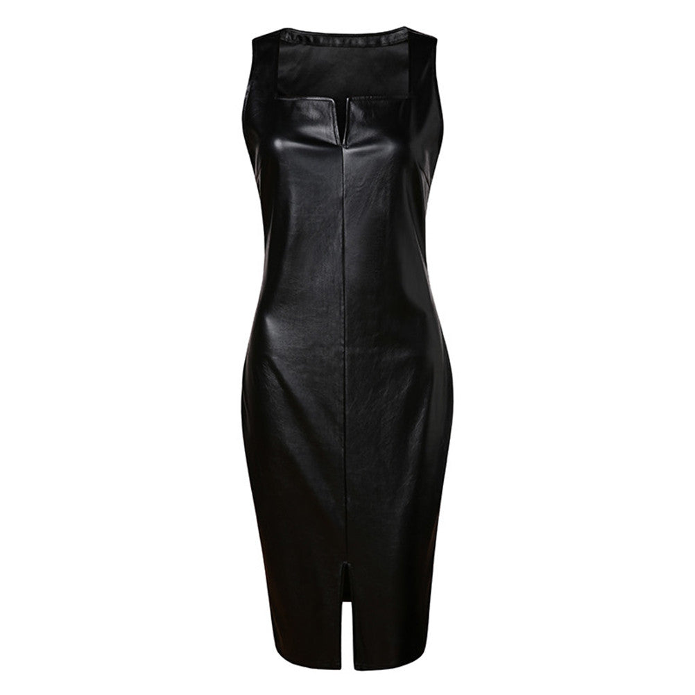On Second Thought: Faux Leather Sheath Dress with Angle Cut Neckline