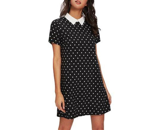 On Second Thought: Polka Dot Mini Dress with Notch Collar