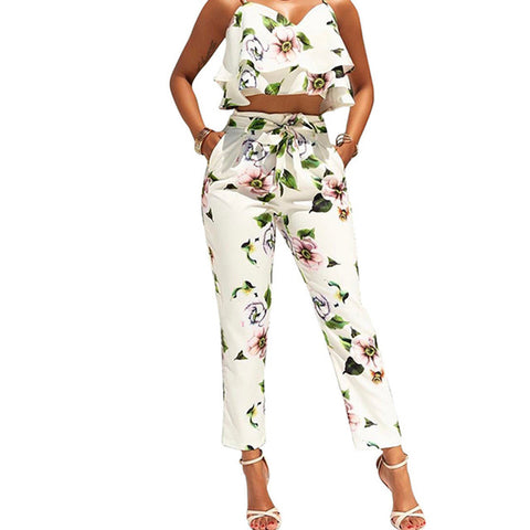 On Second Thought: Two Piece Crop Cami and Pant Floral Suit