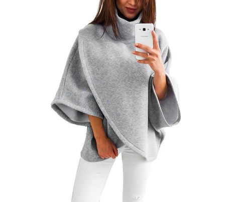 On Second Thought: Gray Turtleneck Blouse w/ 3/4 Wide Sleeve