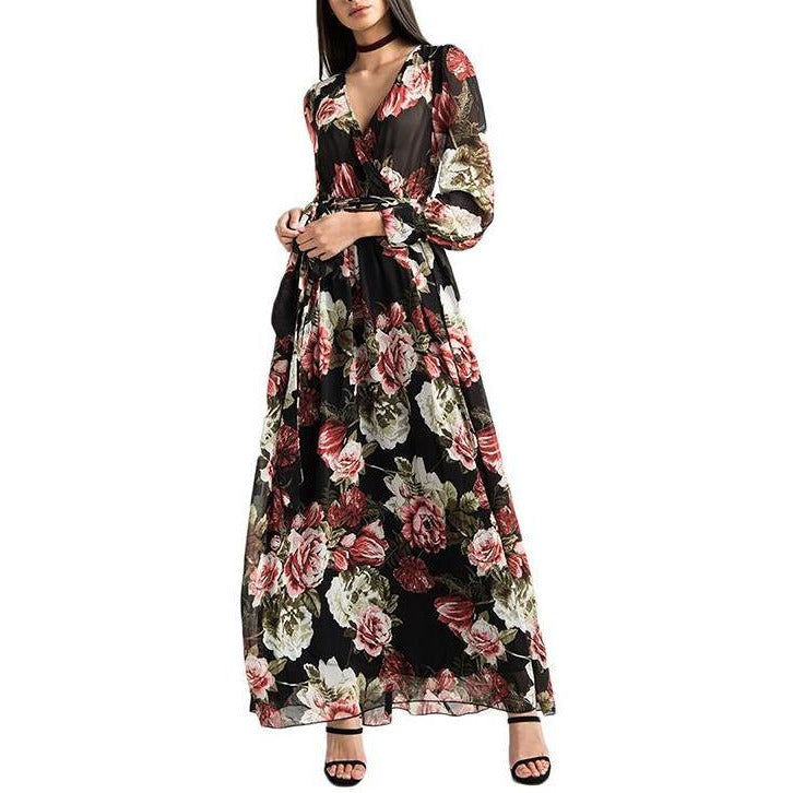 On Second Thought: V-Neck Floral Print Ankle Length Dress
