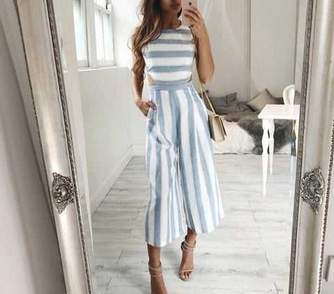 On Second Thought: Linen Striped Culottes Jumpsuit