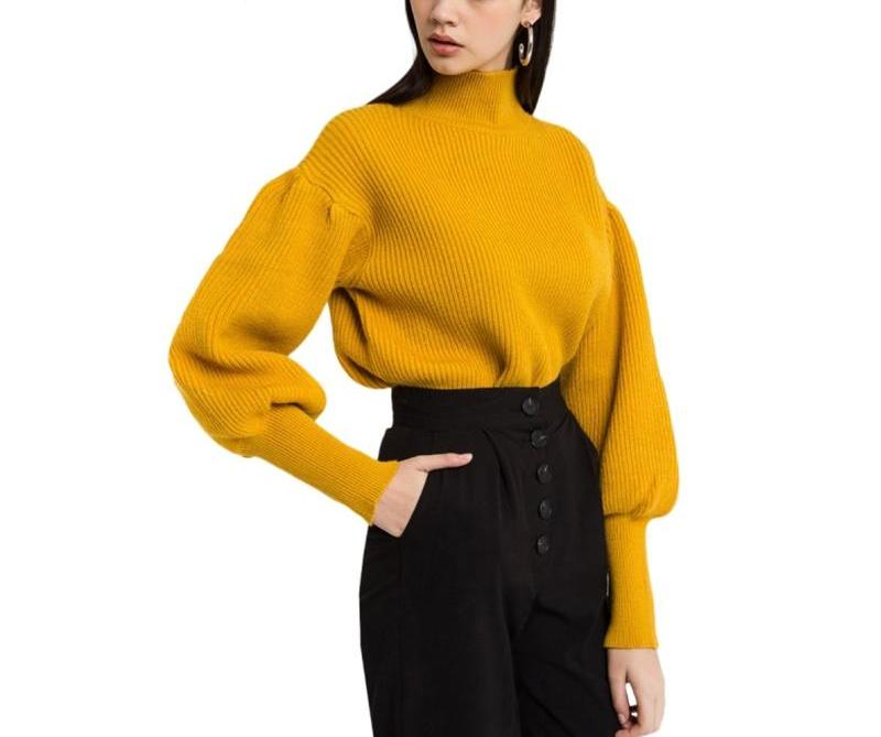 On Second Thought Mustard Yellow Puff Sleeve Turtleneck Sweater With