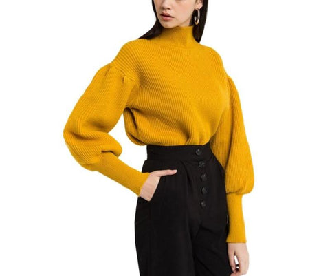 On Second Thought: Mustard Yellow Puff Sleeve Turtleneck Sweater with Tapered Wrists