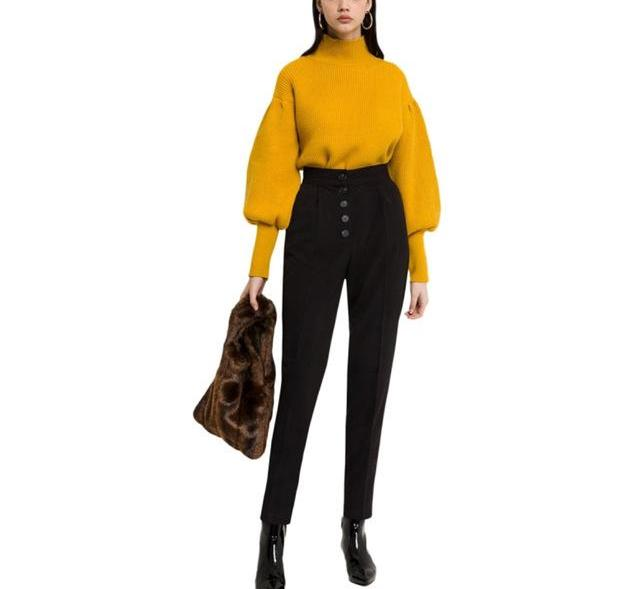 Puff Sleeve Sweater in Mustard Yellow