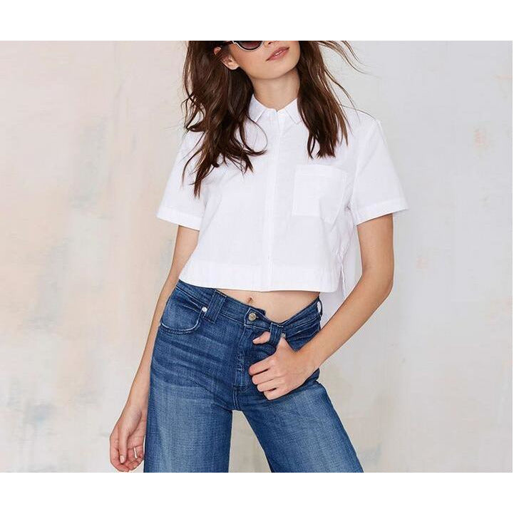 On Second Thought: Crop Blouse w/ Front Pocket and Collar