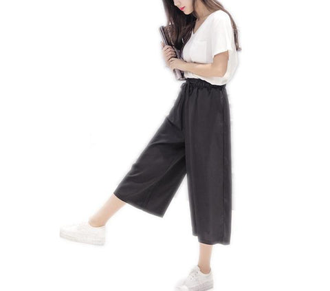 On Second Thought: High Waist Wide Leg Calf Length Drawstring Pant