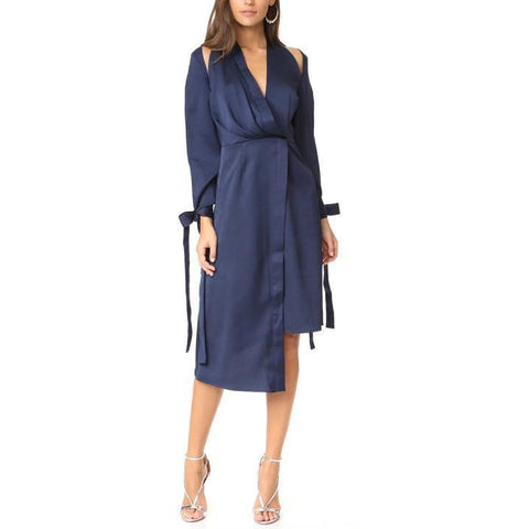 On Second Thought: Deep Blue Open Back Asymmetric  V-Neck Dress w/ Slit Sleeves