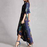 On Second Thought: V-Neck Plunge Asymmetric Hem Dress in Floral Print