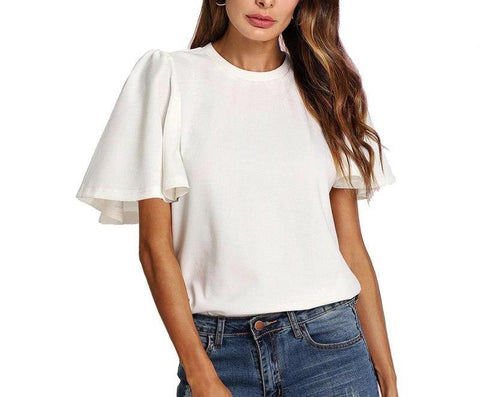 On Second Thought: White Tulip Sleeve Blouse
