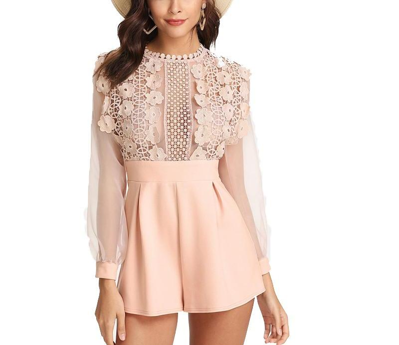 High Waist Lace Romper in Pink Pastel