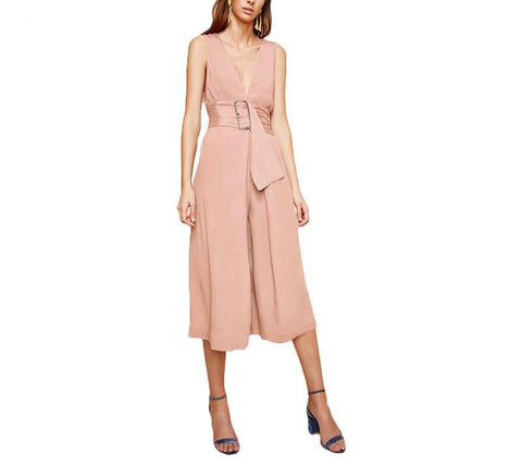 On Second Thought: Sleeveless V-Neck Plunge Calf Length Jumpsuit in Pale Pink and White