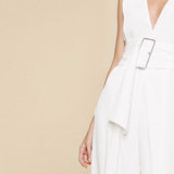 Sleeveless Calf Length Jumpsuit in Pale Pink and White