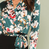 Long Sleeve Floral Tie Knot Blouse