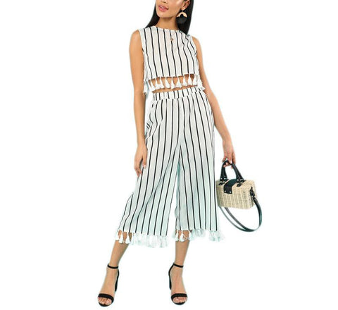 On Second Thought: Sleeveless Striped Crop Top with Tassels and Matching Wide Leg Midi Tassels Pant