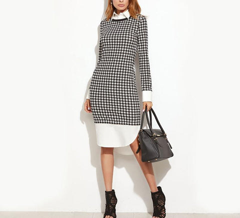 On Second Thought: Houndstooth Dress with Mock Blouse