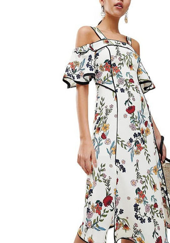 On Second Thought: Off Shoulder Floral with Ruffle Sleeve Dress