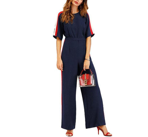 On Second Thought: Navy Half Sleeve Racer Stripe Wide Leg Jumpsuit