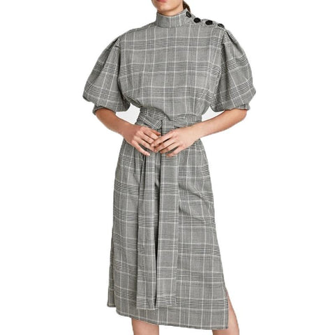 On Second Thought: Plaid Turtleneck Puff Sleeve Tie Waist with Side Split Dress