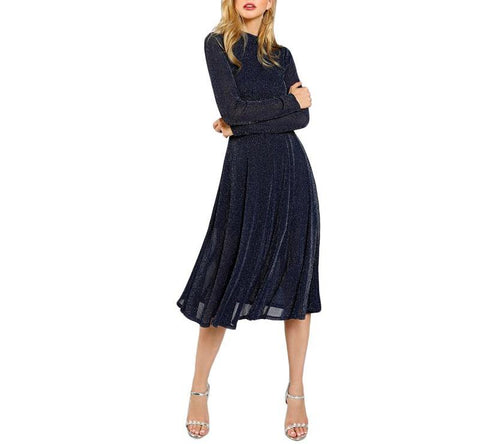 On Second Thought: Full Sleeve Party Dress in Midnight Navy