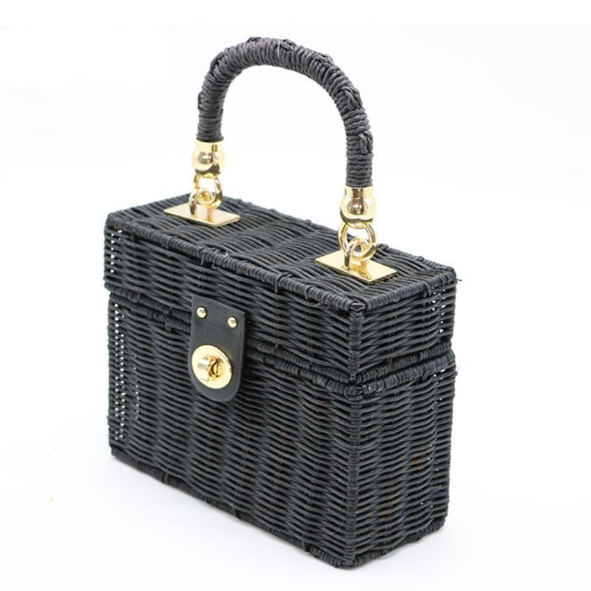 Black Wicker Bag with Gold Chain