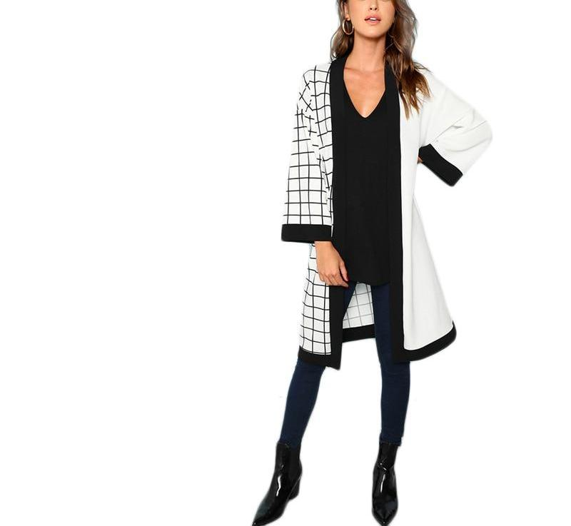 Window Pane Kimono in Graphic Black and White