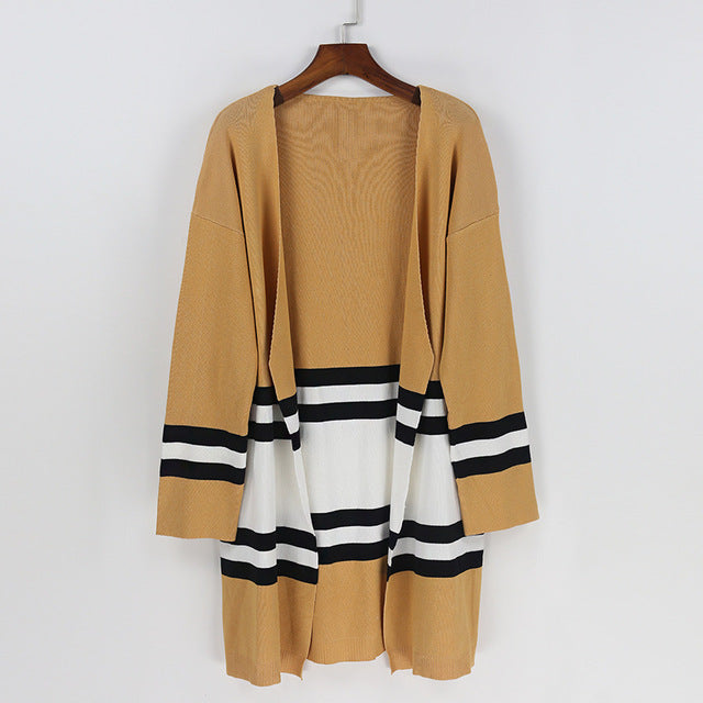 On Second Thought: Open Knit Cardigan in Colorblock Tan Black and White