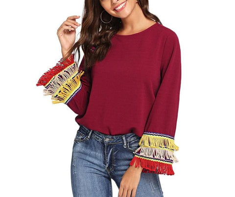On Second Thought: Fringe Bell Sleeve Blouse