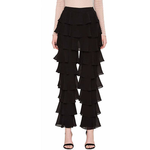 On Second Thought: Mid-Rise Black Ruffle Pants