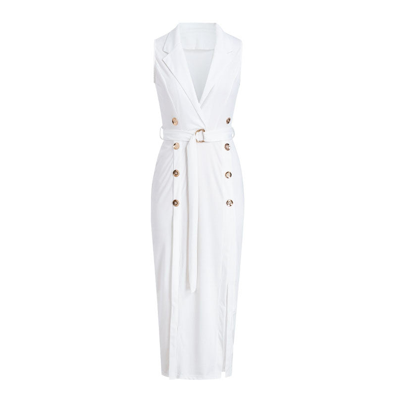 On Second Thought: Sleeveless White Buckle Button Dress