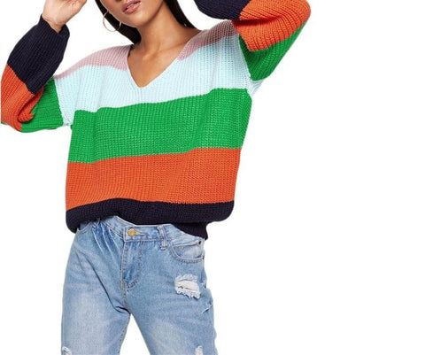 On Second Thought: Patchwork Billow Sleeves V-Neck Sweater in Colorblock