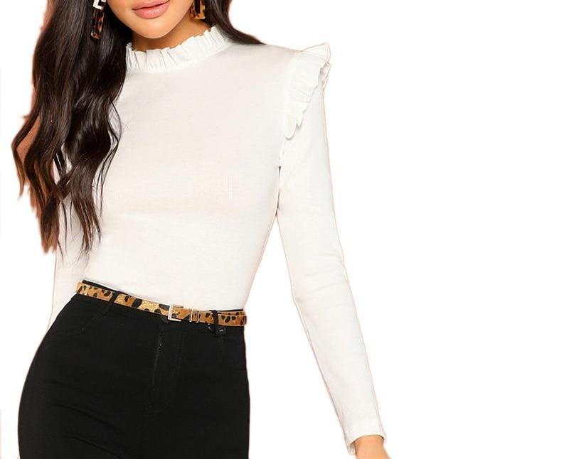 White Blouse with Valance Neck and Shoulder