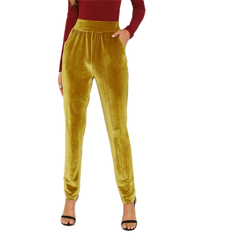 On Second Thought: Velvet High Waist Slim Fit Pant in Ginger Yellow