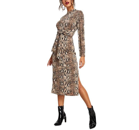 On Second Thought: Mock Neck Snake Print Tie Front Below Knee Dress