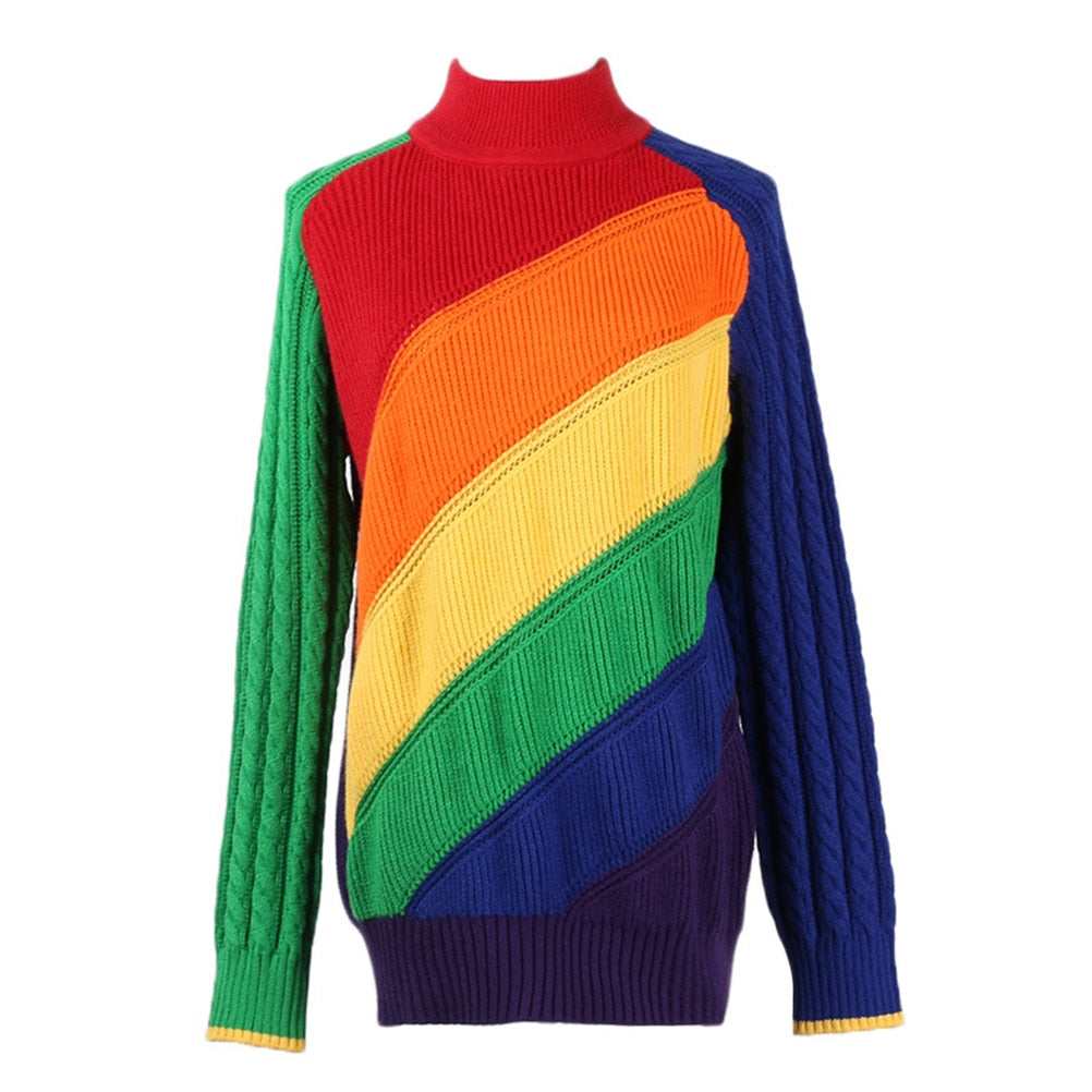 On Second Thought: Turtleneck Sweater in Rainbow